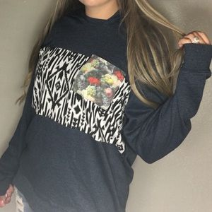 ON THE BYAS • Navy Aztec Hooded Pullover Sweater